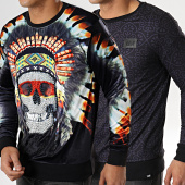 /achat-sweats-col-rond-crewneck/y-et-w-sweat-crewneck-reversible-velours-indian-noir-177651.html