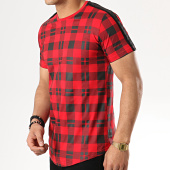 /achat-t-shirts-longs-oversize/gov-denim-tee-shirt-oversize-a-carreaux-avec-bandes-g18005-rouge-noir-177825.html