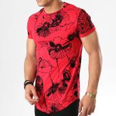 /achat-t-shirts-longs-oversize/aarhon-tee-shirt-oversize-91312-rouge-noir-floral-178230.html