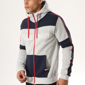/achat-sweats-zippes-capuche/classic-series-sweat-capuche-zippe-a-bandes-gostac-gris-chine-bleu-marine-178289.html