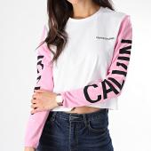 /achat-t-shirts-manches-longues/calvin-klein-tee-shirt-crop-manches-longues-feme-back-logo-0796-blanc-rose-178717.html