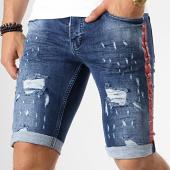 /achat-shorts-jean/black-needle-short-jean-slim-a-bandes-2457-bleu-brut-179127.html