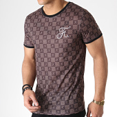 /achat-t-shirts/final-club-tee-shirt-premium-fit-damier-avec-broderie-254-marron-180277.html