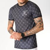 /achat-t-shirts/final-club-tee-shirt-premium-fit-damier-avec-broderie-257-noir-gris-180278.html
