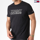 /achat-t-shirts/tommy-hilfiger-jeans-tee-shirt-contoured-corp-logo-6857-noir-180426.html