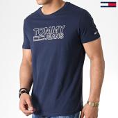 /achat-t-shirts/tommy-hilfiger-jeans-tee-shirt-contoured-corp-logo-6857-bleu-marine-180427.html