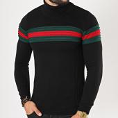 /achat-pulls/lbo-pull-col-roule-avec-bande-vert-et-rouge-jum-11-noir-180517.html