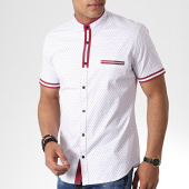 /achat-chemises-manches-courtes/black-needle-chemise-manches-courtes-col-mao-y-3392-blanc-rouge-180580.html