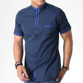 /achat-chemises-manches-courtes/black-needle-chemise-manches-courtes-col-mao-y-3392-bleu-marine-bleu-roi-180581.html