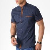 /achat-chemises-manches-courtes/black-needle-chemise-manches-courtes-col-mao-y-3392-bleu-marine-marron-180584.html