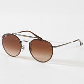 /achat-lunettes-de-soleil/ray-ban-lunettes-de-soleil-round-double-bridge-3614n-gris-marron-180795.html