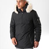 /achat-blousons-vestes/lbo-parka-fourrure-enfilable-demi-zip-avec-poche-noir-blanc-181190.html