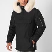 /achat-parkas/lbo-parka-fourrure-enfilable-demi-zip-avec-poche-noir-blanc-181190.html