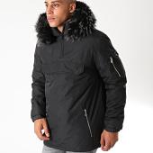 /achat-blousons-vestes/lbo-parka-fourrure-enfilable-demi-zip-avec-poche-noir-melange-181191.html