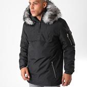 /achat-blousons-vestes/lbo-parka-fourrure-enfilable-demi-zip-avec-poche-noir-gris-181192.html