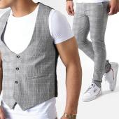 /achat-pantalons-carreaux/classic-series-ensemble-gilet-et-pantalon-carreaux-3109-gris-181404.html