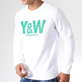 /achat-sweats-col-rond-crewneck/y-et-w-sweat-crewneck-logo-blanc-vert-181637.html
