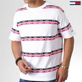 /achat-t-shirts/tommy-hilfiger-jeans-tee-shirt-signature-stripe-logo-7573-blanc-rose-noir-181664.html