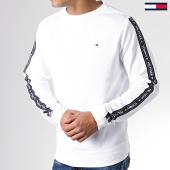 /achat-sweats-col-rond-crewneck/tommy-hilfiger-jeans-sweat-crewneck-a-bandes-0705-blanc-181864.html