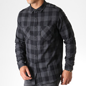 /achat-chemises-manches-courtes/urban-classics-chemise-manches-longues-a-carreaux-tb297-gris-anthracite-noir-182061.html