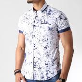 /achat-chemises-manches-courtes/black-needle-chemise-manches-courtes-y-3398-blanc-bleu-marine-182226.html