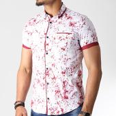 /achat-chemises-manches-courtes/black-needle-chemise-manches-courtes-y-3398-blanc-rouge-182228.html