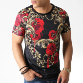 /achat-t-shirts-longs-oversize/classic-series-tee-shirt-oversize-floral-aj920-noir-dore-rouge-182880.html
