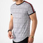 /achat-t-shirts-longs-oversize/mtx-tee-shirt-oversize-avec-bandes-et-carreaux-tm0101-blanc-noir-rouge-182862.html