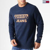 /achat-sweats-col-rond-crewneck/tommy-hilfiger-jeans-sweat-crewneck-split-block-logo-6674-bleu-marine-182838.html