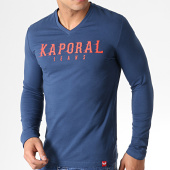 /achat-t-shirts-manches-longues/kaporal-tee-shirt-manches-longues-col-v-pizake-bleu-marine-rouge-182952.html