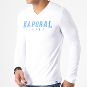/achat-t-shirts-manches-longues/kaporal-tee-shirt-manches-longues-col-v-pizake-blanc--bleu-roi-182954.html