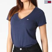 /achat-t-shirts/tommy-hilfiger-jeans-tee-shirt-col-v-femme-soft-jersey-6899-bleu-marine-182992.html