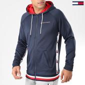 /achat-vestes/tommy-sport-veste-zippee-capuche-knit-fz-tape-bleu-marine-blanc-rouge-183157.html