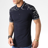 /achat-polos-manches-courtes/ikao-polo-manches-courtes-oversize-f513-bleu-marine-blanc-183395.html