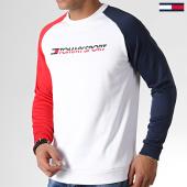/achat-sweats-col-rond-crewneck/tommy-sport-sweat-crewneck-tricolore-knit-0141-blanc-bleu-marine-rouge-183344.html