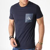 /achat-t-shirts-poche/calvin-klein-tee-shirt-poche-monogram-2993-bleu-marine-183462.html