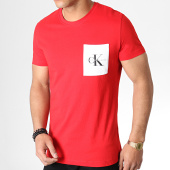 /achat-t-shirts-poche/calvin-klein-tee-shirt-poche-monogram-2993-rouge-blanc-183464.html