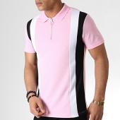 /achat-polos-manches-courtes/frilivin-polo-manches-courtes-zippe-ap7238-rose-noir-blanc-183576.html