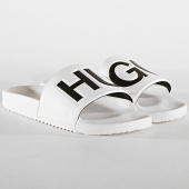 dd8d5e6b3c504 HUGO by Hugo Boss - Claquettes Time Out Slip 50411426 Blanc Noir