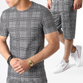 /achat-ensembles-survetement/john-h-ensemble-tee-shirt-et-short-a-carreaux-tp803-noir-blanc-183472.html