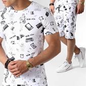 /achat-ensembles-survetement/john-h-ensemble-tee-shirt-et-short-tp805-blanc-dore-noir-183480.html