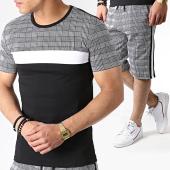 /achat-ensembles-survetement/john-h-ensemble-tee-shirt-et-short-a-carreaux-avec-bandes-es01-noir-blanc-183511.html