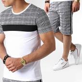 /achat-ensembles-survetement/john-h-ensemble-tee-shirt-et-short-a-carreaux-avec-bandes-es01-blanc-noir-183512.html