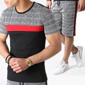 /achat-ensembles-survetement/john-h-ensemble-tee-shirt-et-short-a-carreaux-avec-bandes-es01-noir-rouge-183513.html