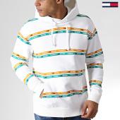 /achat-sweats-capuche/tommy-hilfiger-jeans-sweat-capuche-stripe-6056-blanc-183577.html