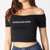 /achat-t-shirts/calvin-klein-top-femme-crop-col-bateau-institutional-logo-1494-noir-blanc-184099.html