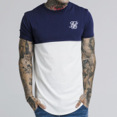 /achat-t-shirts-longs-oversize/siksilk-tee-shirt-oversize-cut-and-sew-14270-blanc-bleu-marine-184910.html