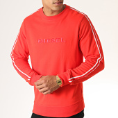 /achat-sweats-col-rond-crewneck/diesel-sweat-crewneck-a-bandes-willy-00cs7c-0hase-rouge-185727.html