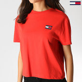 /achat-t-shirts/tommy-hilfiger-jeans-tee-shirt-femme-badge-6813-rouge-186117.html
