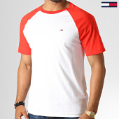 /achat-t-shirts/tommy-hilfiger-jeans-tee-shirt-contrast-sleeve-6545-blanc-rouge-186531.html